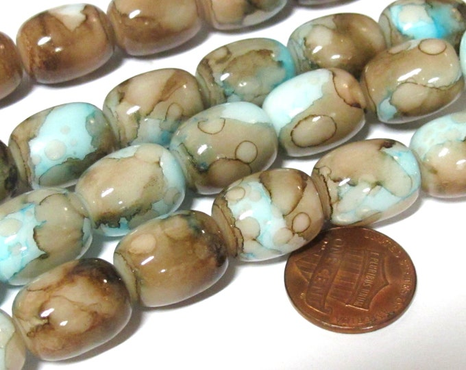 8 Beads - Beautiful thick drum shape Blue brown color artistic glass beads - AB069B