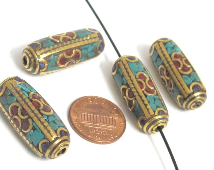 1 bead - Long tubular brass bead  turquoise coral lapis inlaid from Nepal - BD988