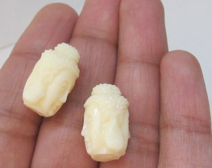 2 BEADS - Light weight cream white resin Dual sided Buddha face pendant bead  - BD705A
