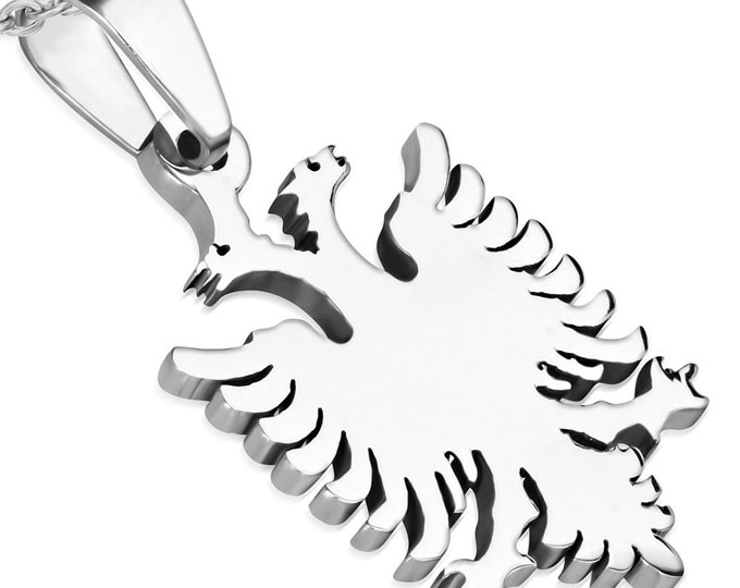 1 Pendant - 316L Stainless Steel twin phoenix eagle bird pendant - ST006C