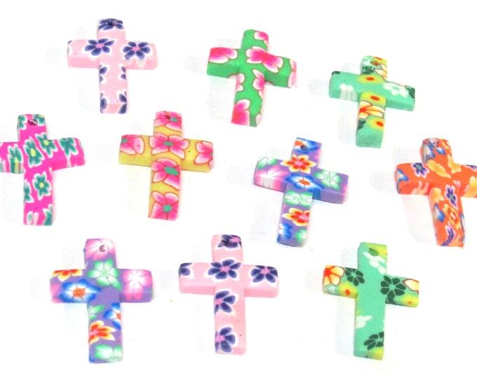 8 pieces  - Beautiful cross pendants mix colors design polymer clay cross charm pendant - BD945