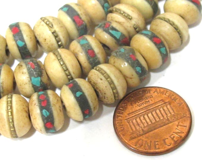 20 beads - 10 mm Tibetan brownish color ethnic bone beads with turquoise brass coral inlay - Nepal beads - ML100C