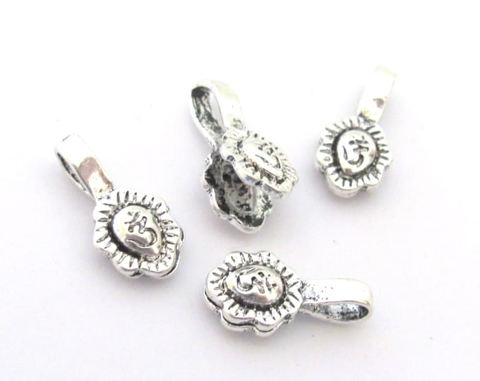 2 counters set  - Small size Silver color plated Tibetan Om symbol leaf shape mala counter - BD612