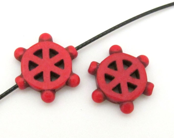 2 Beads - Red howlite Dharma wheel symbol beads set - BD654K
