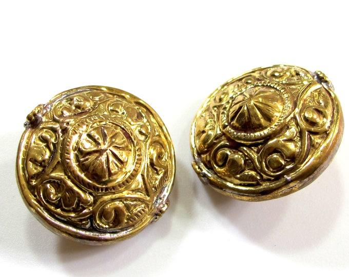1 Bead - Large size Tibetan brass bead oval disc shape floral repousse beads nepal tibetan beads metal brass beads nepalbeadshop - BD1039