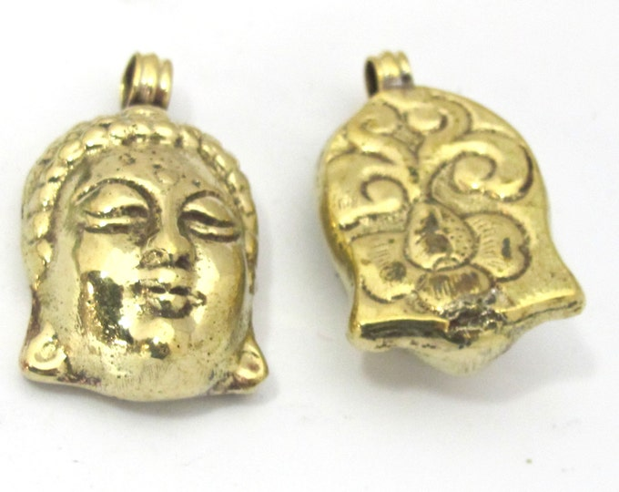 Buddha Pendant - 1 piece -Tibetan solid brass Buddha face pendant with reverse side floral carving Nepal brass pendant  - PM464
