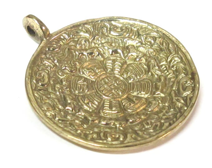 Tibetan ethnic timeline wheel calendar melong solid Brass pendant  50 mm height x 43 mm wide - CP124 custom design copyright Nepalbeadshop