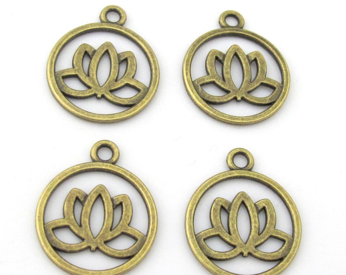 10 charms - Tibetan Lotus flower brass tone light weight metal charms  - CM102s