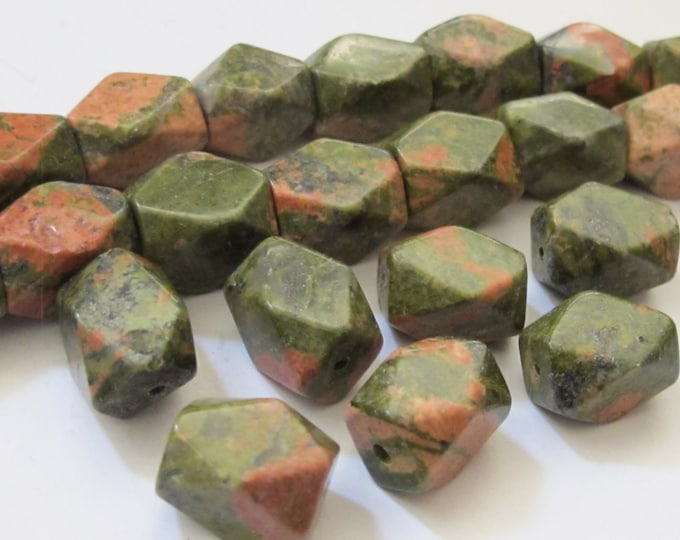 8 BEADS -  Thick Faceted Unakite gemstone beads  - GM0284