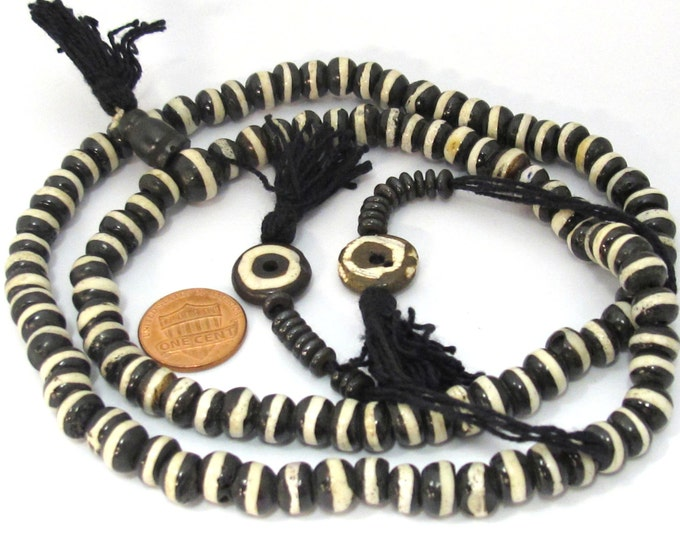 108 Mala bone beads - Tibetan mala 108 bone mala beads supply 8 mm size with Guru bead and counter supplies - ML057A