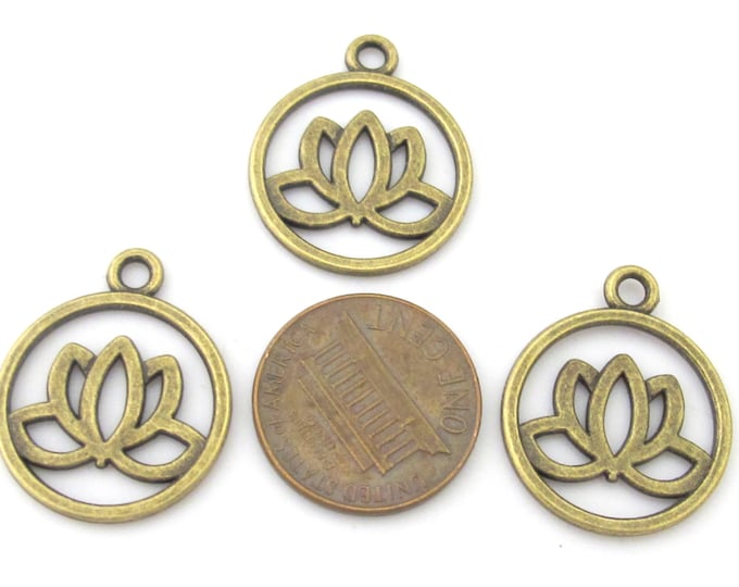 10 charms - Tibetan Lotus flower brass tone light weight metal charms  - CM102