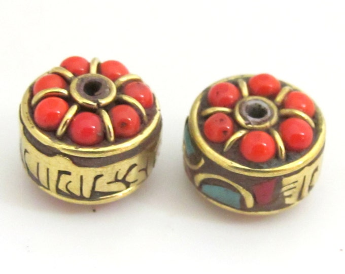 Tibetan om mantra brass prayer bead with coral turquoise inlay -  1 bead - BD706A