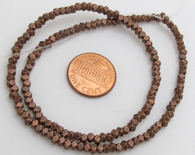 Small size 3 mm Copper tone plated cube metal beads - 1 FULL STRAND - BD416