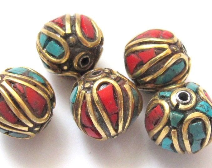 2 Beads - Nepal beads made of brass with turquoise and coral inlay -BD046