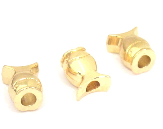 4 BEADS - Gold plated fish beads with large hole size - BD842