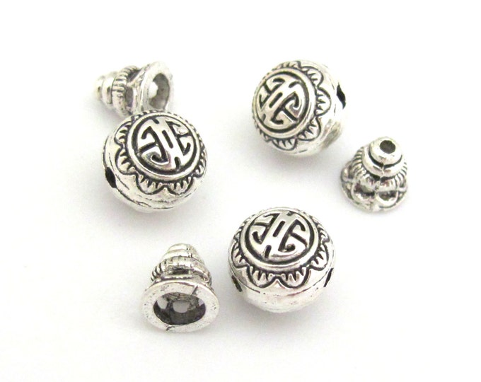 2 sets -  Guru bead set - Light weight tibetan silver  3 hole Guru bead 10 mm size and column bead set - GB006