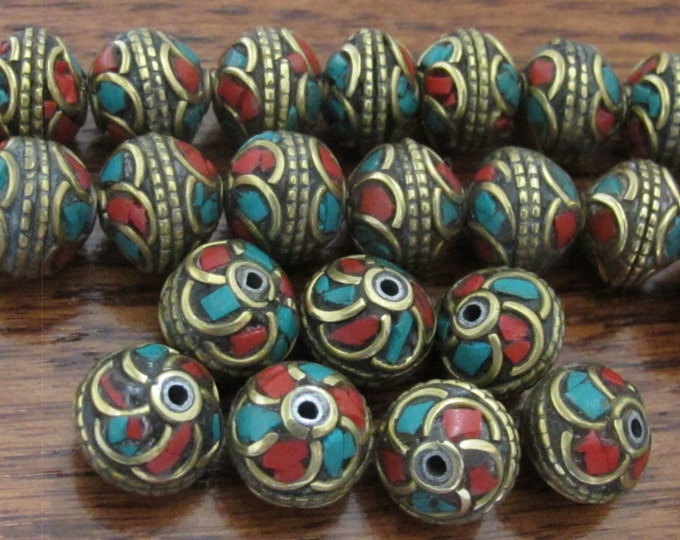 Nepalese brass bead with turquoise coral inlaid in floral whorl design - 4 beads - BD518