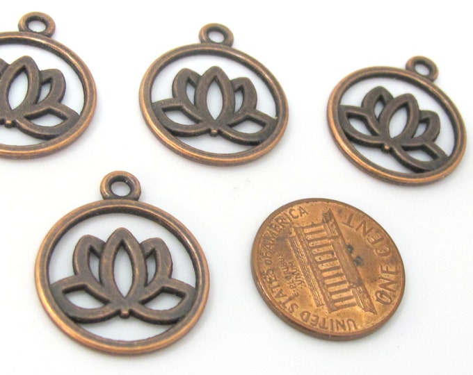 5 charms - Tibetan Lotus flower antiqued copper tone light weight metal charms  - CM161
