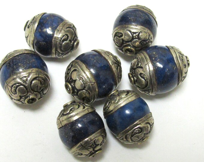 2 BEADS-  Tibetan capped Lapis Lazuli  gemstone bead-  17 - 18 mm long x 13 - 14 mm thick  BD154A