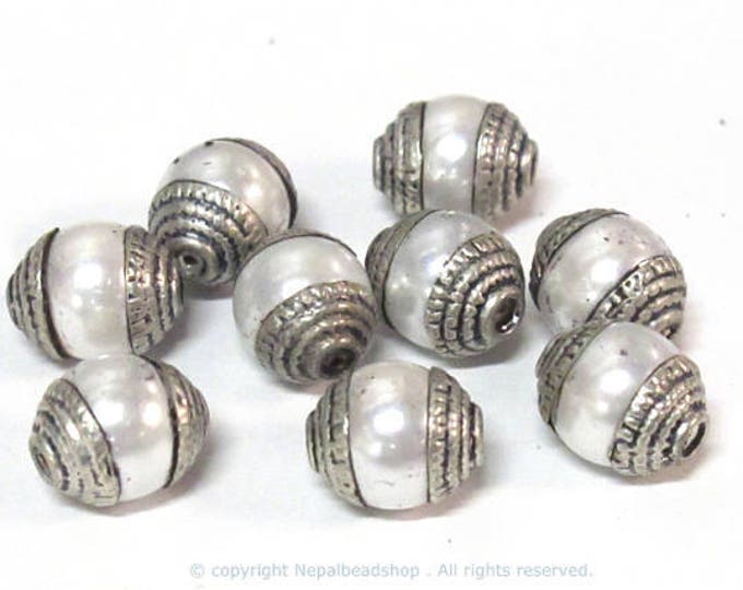 4 BEADS - Tibetan silver capped white color pearl beads 7 - 8 mm x 9 -10 mm - BD773B