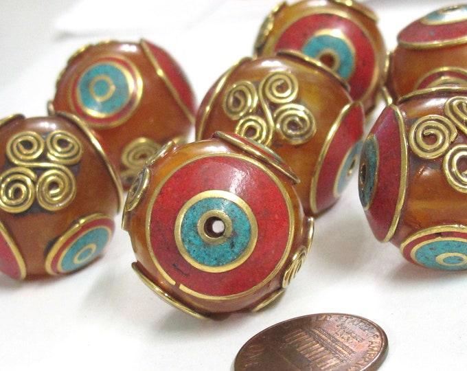 2 Beads - Beautiful Tibetan copal resin bead with brass , turquoise and coral inlay spiral coil floral design - BD835K