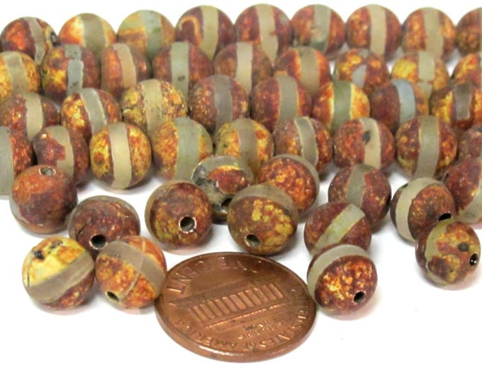 10 BEADS - Tibetan rustic brown color agate gemstone beads 8 mm size - GM430