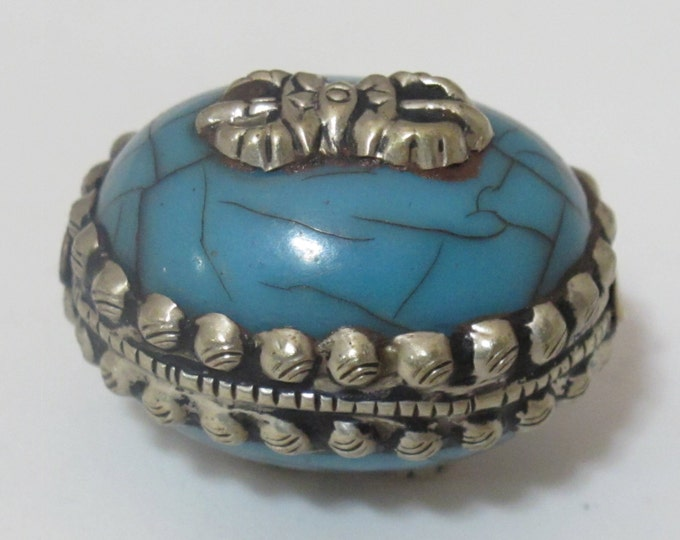 Large size Tibetan silver encased blue crackle resin reversible bead with tibetan dorje vajra symbol - 1 BEAD -  BD472