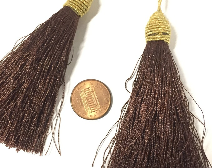 1 Piece  - Long dark brown color silky tassel charm with golden cord twine - tassle fringe craft supply - TS003B
