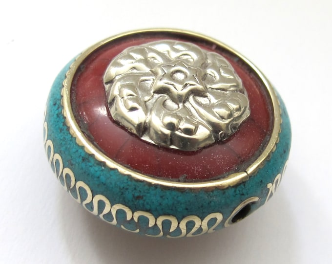 1 BEAD -  Reversible Tibetan red crackle resin bead with turquoise and brass inlay and silver star floral design - BD519C