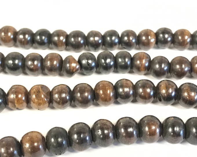 20 Beads - 10 mm Dark Brown black color Tibetan bone beads supply -   ML006T
