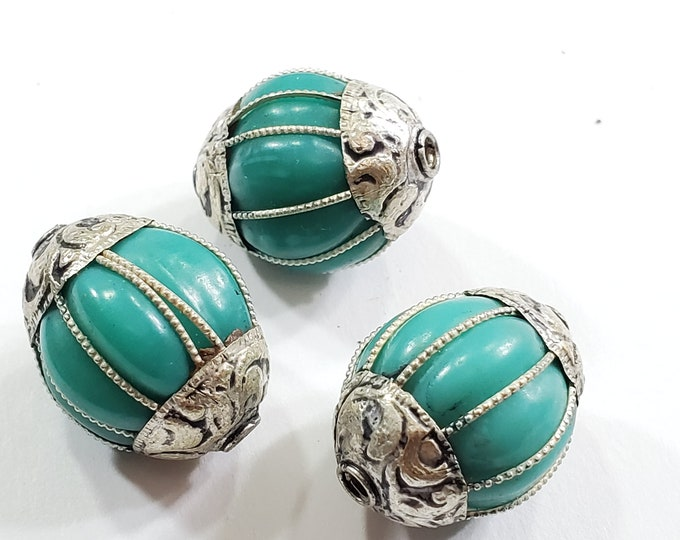 1 Bead - Tibetan silver capped  turquoise gemstone beads from Nepal Tibetan beads Nepal beads  - BD403