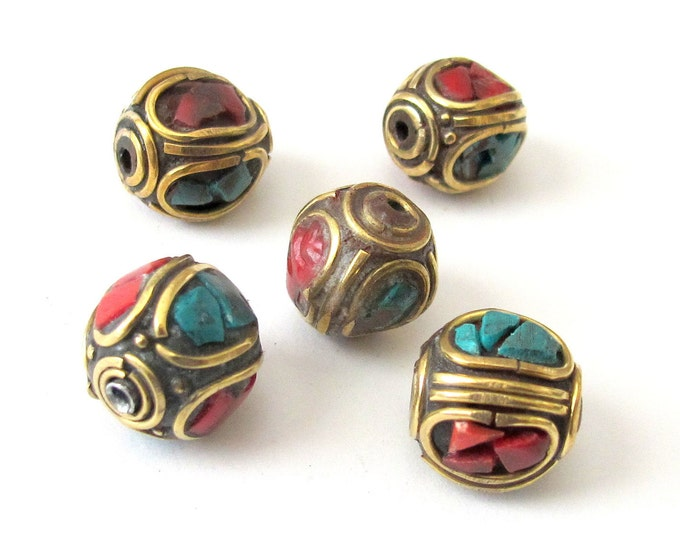6 Beads - Nepal Brass Beads  with turquoise and coral inlay - BD066