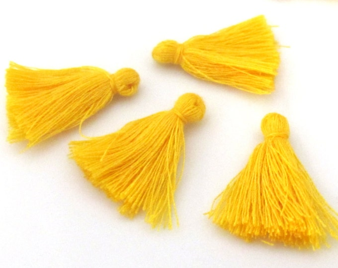 4 Pieces  - Small mini size saffron yellow color silky tassel charms tassle fringe craft mala supply 1 inch - TS009
