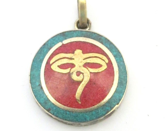 Small size Tibetan Buddha eyes pendant  with turquoise coral inlay - PM276G