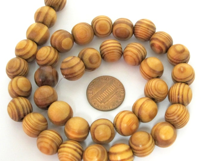 1 Full strand 16 inches -Round Wood swirl stripe design Beads 11 - 12 mm size - NB139