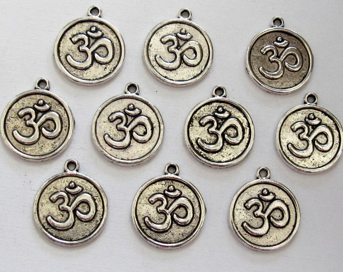 8 pieces - silver  tone yoga meditation om metal disc charms beads  - BD589