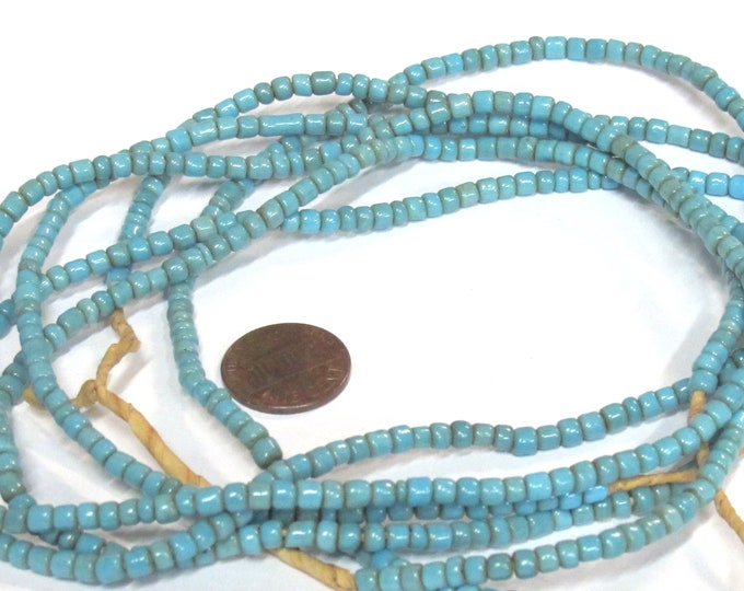 1 full strand - 24 inches long - Ghana blue color african glass beads - 150 plus beads - AB004