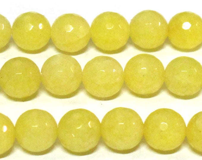 10 BEADS - Round lemon yellow color faceted jade gemstone beads 10 mm -  GM446