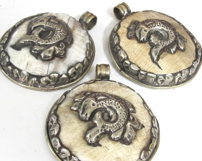 1 pendant - Large Ethnic Tibetan Nepal antiqued finish  naga conch shell  pendant with fish design   - PM547H