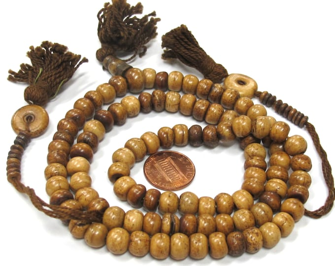 108 beads supply -  Tibetan brown color bone mala beads supply 8 mm size with Guru bead and counters set - ML086A