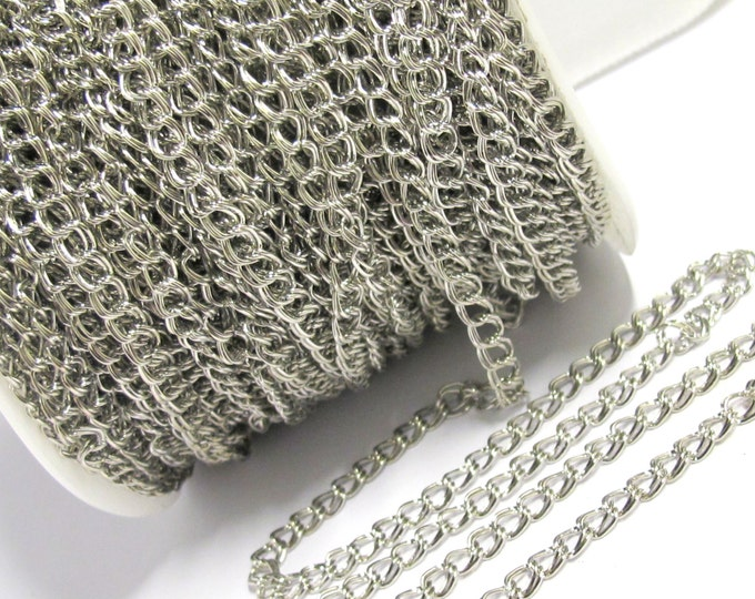 1 foot - Double link chain platinum tone plated chain supplies  5 mm wide x 5 -6 mm long each link - MG009