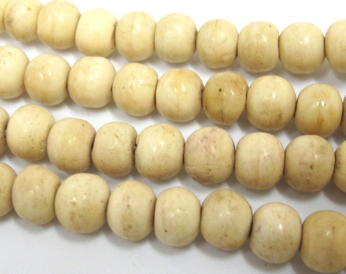 108 mala BEADS - white color old bone beads supply 8-9mm size - ml063