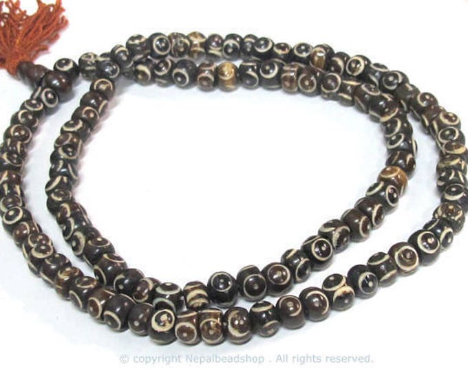 108 beads mala supplies Tibetan carved circles dotted brown  color  bone beads 8 mm size - ML105A