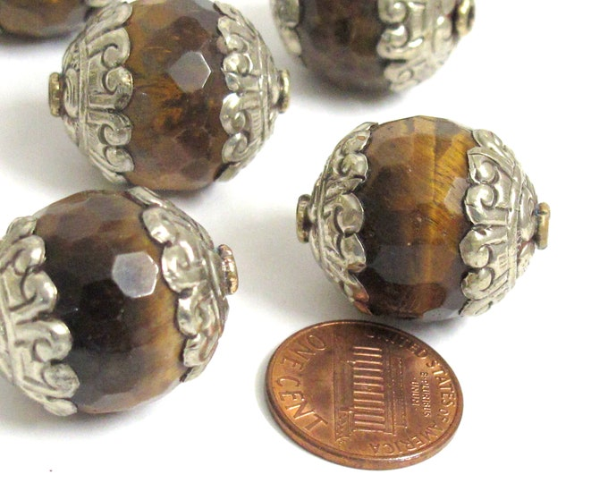 2 BEADS - Large thick Tibetan silver capped faceted Tigers eye gemstone bead 20 mm x 24mm  - BD578K