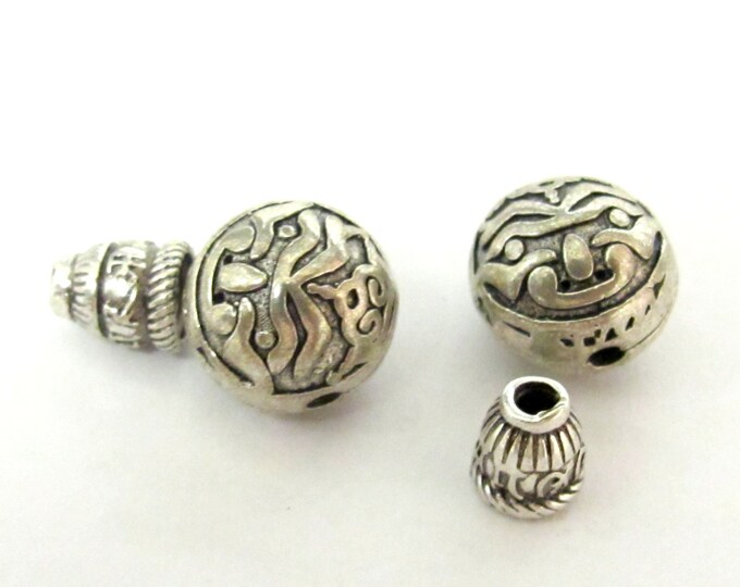 1 Guru bead set - Tibetan silver buddha eye symbol 3 hole Guru bead 12 mm size and om mantra column bead - GB027