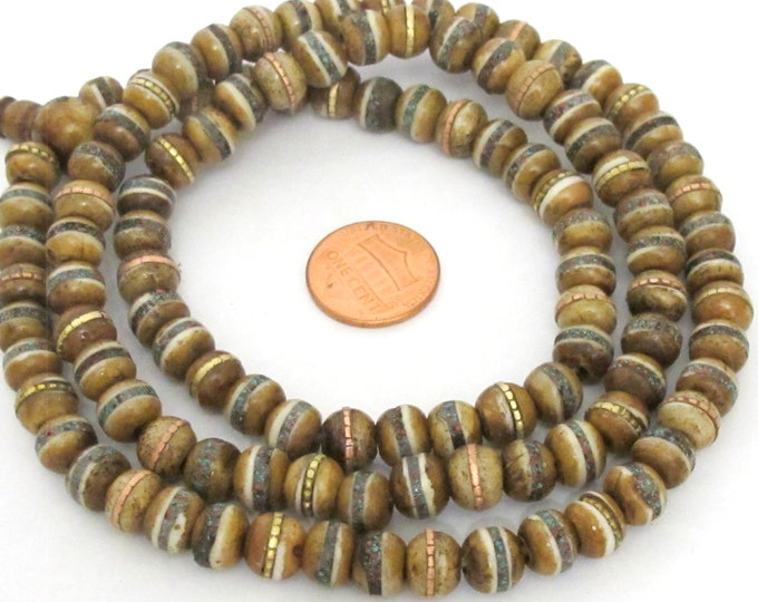 108 beads - 8 mm Tibetan brown color bone mala beads with turquoise brass coral inlay beads supply - ML128A
