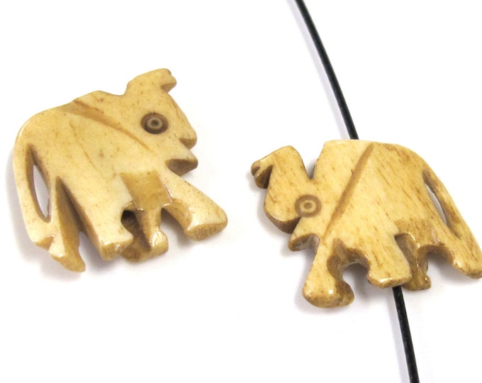 2 Beads - Medium size carved elephant design ivory color bone beads  - HB070