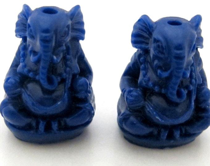 2 BEADS -  Deep Blue color resin seated Ganesha pendant beads 20 mm x 15 mm - BD784E