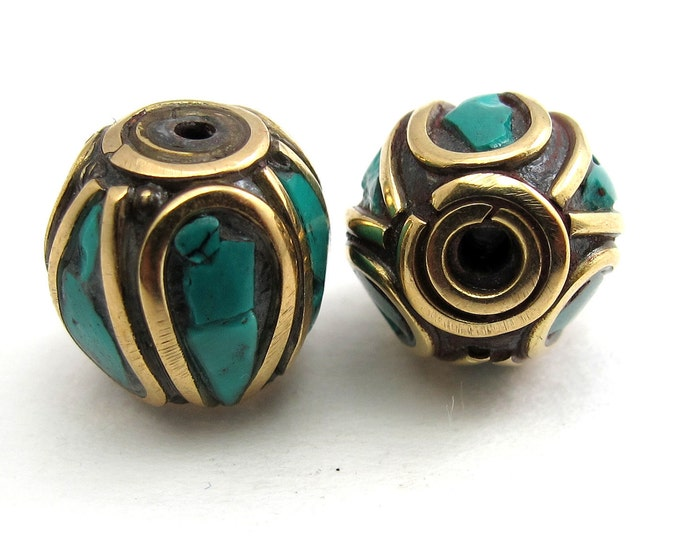 Drum shape brass beads with turquoise inlay from Nepal - 2 beads - BD069