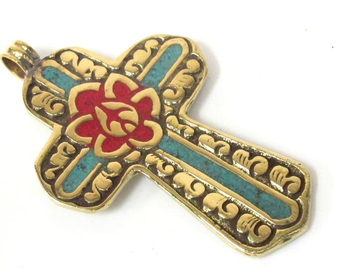 1 Pendant - Reversible Tibetan solid Brass cross pendant with lotus floral carving turquoise coral  inlay - PM564D Copyright Nepalbeadshop